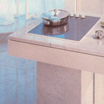 Cladding pieces for kitchen surfaces, marble, granite, limestone.