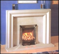 The New Look fireplace surround in moleanos limestone