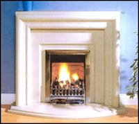 The Elegance fireplace in moleanos limestone