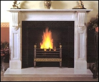 The William fireplace in white estremoz marble
