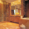 Bathroom cladded in red alicante marble, paving & walls .