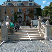 Granite staircase, balustrades & copings in yellow granite