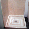 Solid shower tray in rosa portugal marble, matt finish.