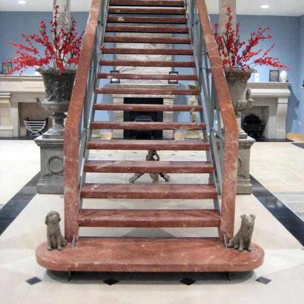 Staircase, Treads And Copings In Red Alicante Marble