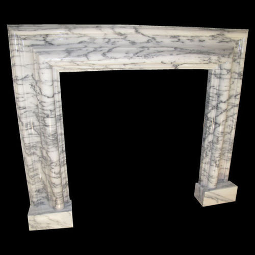 Bolection mould fireplace in white and grey marble