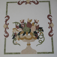 Marble center piece with inlaid materials