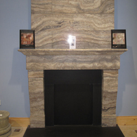 The Stephen fireplace in silver travertine