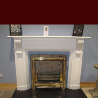 The Clyde fireplace in white sivec marble