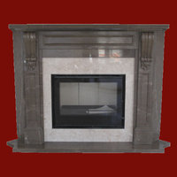 The carved Victorian fireplace in Gris Pulpis marble