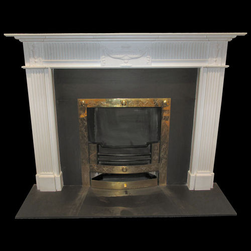The Adam Reeded in white sivec marble, honed finish