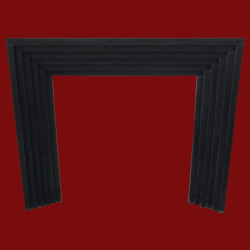 The stepped surround in black granite