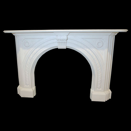 The Victorian arched fireplace in white sivec marble