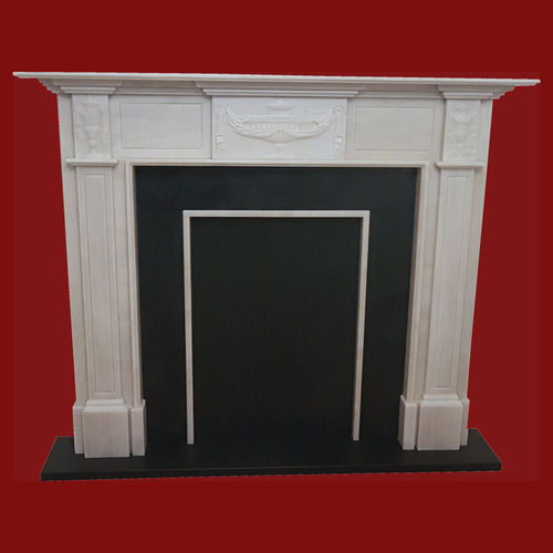 The Adam fireplace in light estremoz marble, honed finish